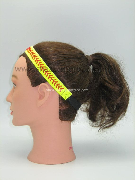 Softball Headband Yellow/red by SnazzySportsCo on Etsy, $8.99