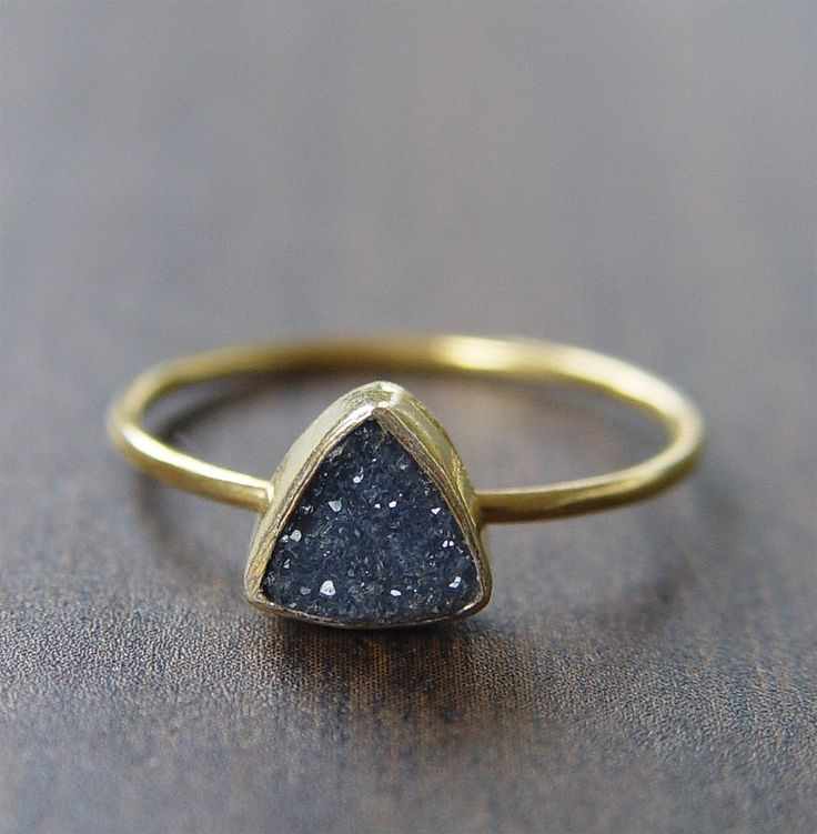 Noir Triangle Druzy Ring, 14k Gold Filled
