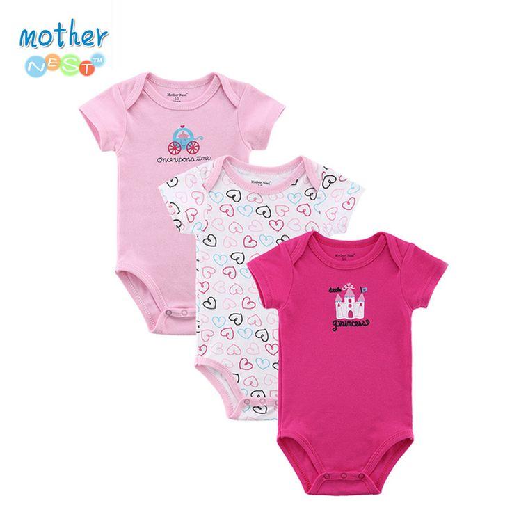 Barato 3 Peças/lote Romper Do Bebê Menina e Menino de Manga Curta Estampa de…