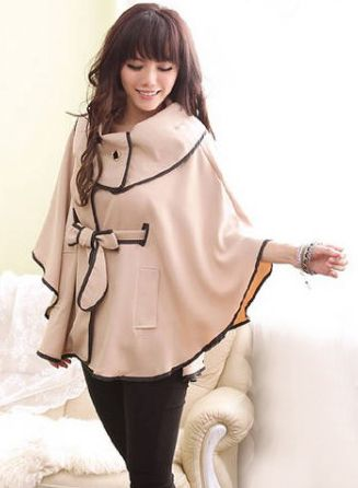 Modern style big turn down collar solid color cotton blend cloak for