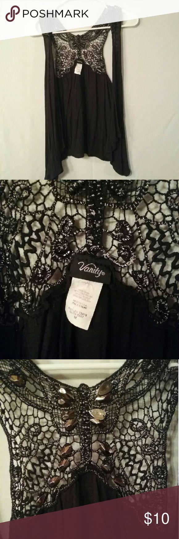 Vest/Shrug Gently worn black &silver  vest/shrug Vanity Sweaters Shrugs & Ponchos