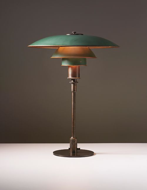 scandinavian collectors: POUL HENNINGSEN, Desk lamp, circa 1928. Painted copper, patinated tubular brass, patinated brass. Manufactured by Louis Poulsen, Denmark. / Phillips