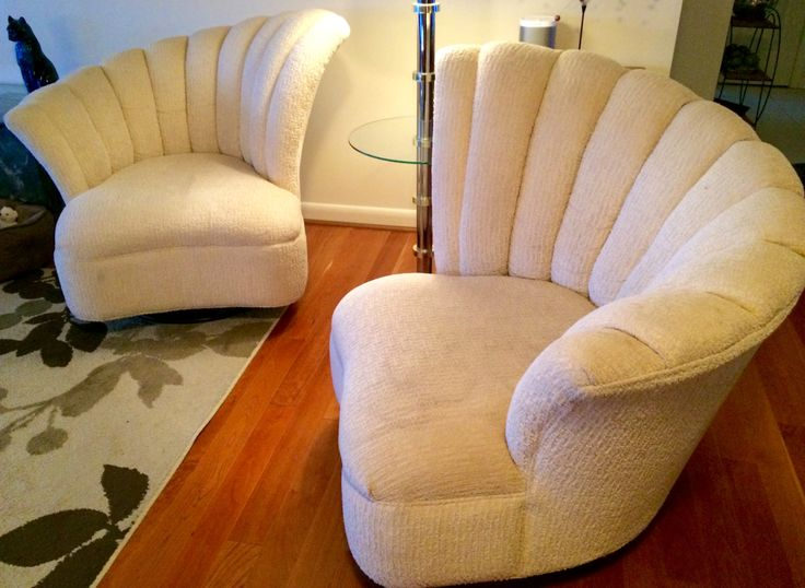 Stunning Pair Of Modern Cream White Chenille Swivel Slipper Chairs  Asymmetrical Fan Back By OffCenterModern On