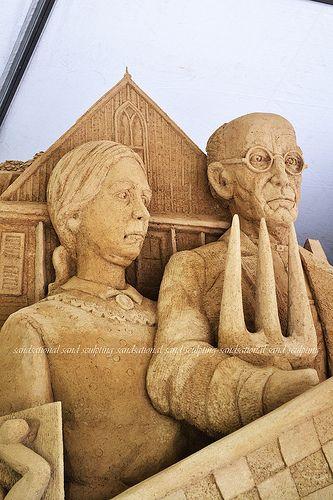 Sandsational Sand Sculpting -- American Gothic -- American Art Icons sand sculpture by SandsationalAmerican Gothic
