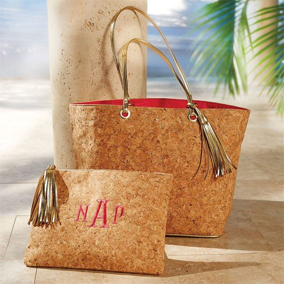 HOT NEW Monogrammed Cork Bags by EmbroiderExpressions on Etsy