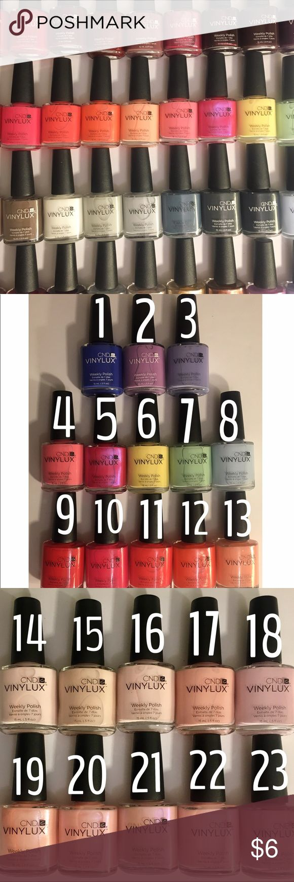 48 COLORS CND Vinylux Weekly Nail Polish Brand New, Unused, Full-Sized (15mL) Bottles of CND Vinylux Weekly Polishes in 48 Various Colors for you to choose from! Vinylux does NOT require a base coat due to its own built-in adhesion promotors. No special light needed either - just a regular light bulb or the sun! Vinylux promises to leave your nails like-new for 7 Beautiful, Chip-Free days of wear. For color names see the last photo.     *1ST 5 TO PURCHASE GET FREE CND TOP COAT!*      Price…