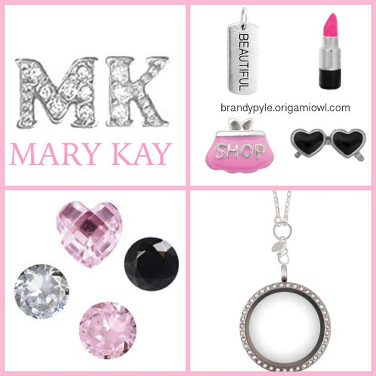 Mary Kay themed Origami Owl necklace. Advertise your MARY KAY business without even thinking about it. http://www.karynlittle.origamiowl.com/