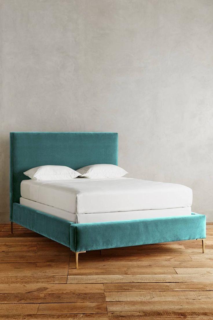 Teal velvet bed from Anthropologie - Decoist
