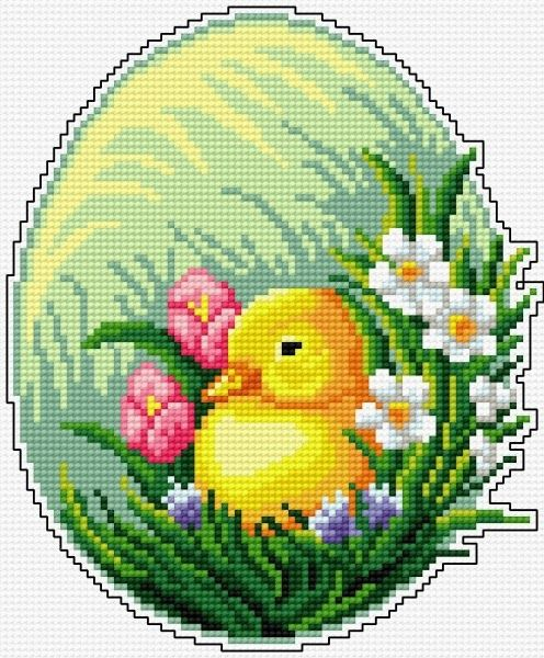 Easter egg duckling cross stitch