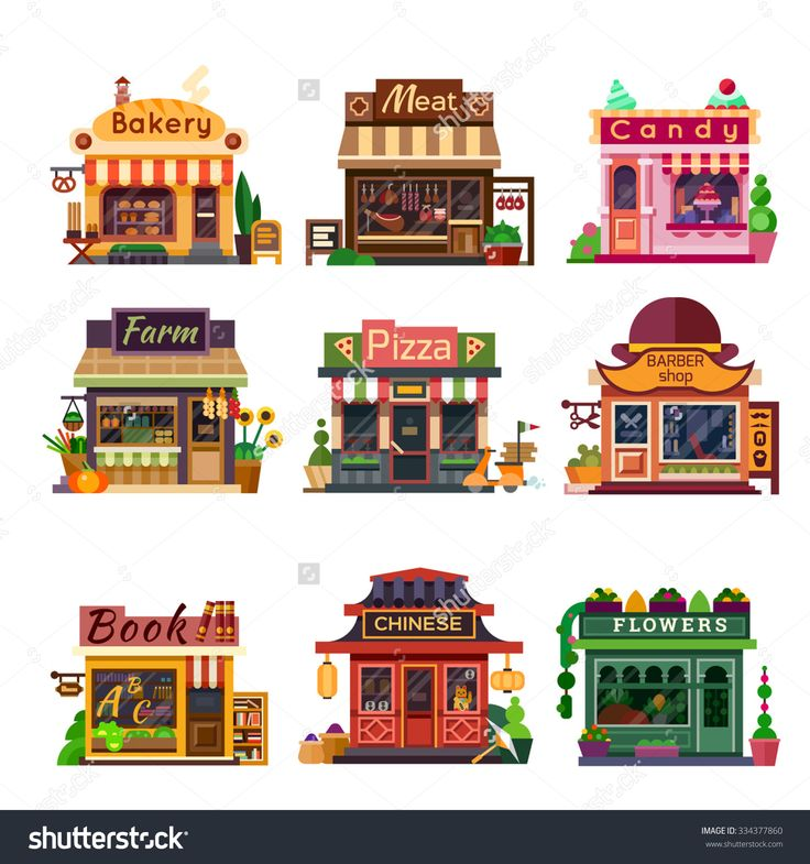 Set Of Nice Shops. Different Showcases: Bakery, Meat Shop, Candy Store, Farm Products, Pizza Cafe, Coffee, Barbershop, Bookstore, Chinese Shop, Flower Shop. Flat Vector Illustration Stock Set. - 334377860 : Shutterstock