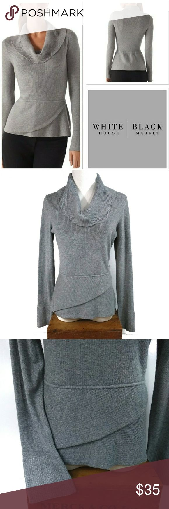 """WHBM Gray Cowl Neck Surplice Peplum Sweater Top Excellent condition! Worn once!   Size S. 16"""" pit to pit, 23"""" total length, 24"""" sleeves, 14"""" across waist- but does stretch!   Adoration is too simple a word to describe how I feel about this top! So unique, yet so simple, and oh, so classy! White House Black Market (and the quality that comes with the name) cowl neck surplice peplum sweater top in light gray! Dress it up or down, the choice is yours! White House Black Market Sweaters Cowl…"""