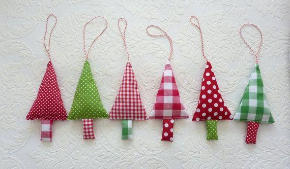 Kerst Decoratie, Kerstboom Hangers, Stoffen Kerstboom Versieringen in rood, groen en wit