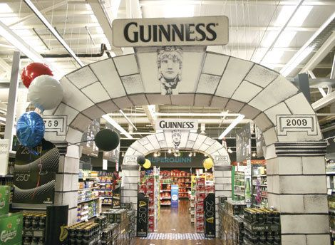 Arthur's Day arches and product display for a fully immersive instore promotion.     (Arthur's Day is a local event unique to Ireland that celebrates the day Arthur Guinness founded the Guinness Brewery in Dublin County).     *** Design, print and build by The Printed Image in Ireland. ***
