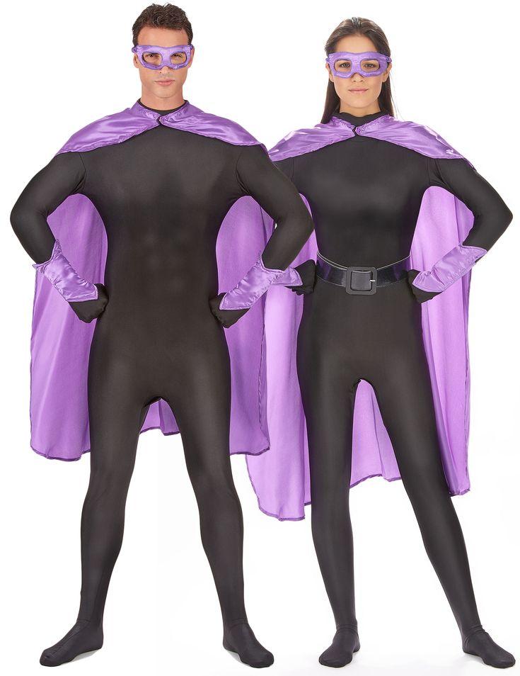 Kit superhéroes violeta adulto: Este kit de superhéroe violeta para adulto incluye capa, antifaz y manguitos (traje y cinturón no incluidos). La capa es larga y violeta satinada. Se cierra con velcro. Mide alrededor...