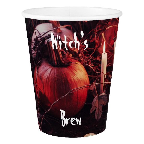 Rustic Halloween Pumpkin and Candles Paper Cup #halloween #holiday #drinkware #party #cups
