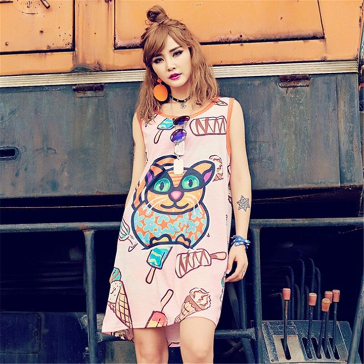 Solo ¡! nunca mujeres hip hop chaleco vestido fresco helado divertido gato sol impreso verano…