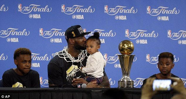 Lebron James Jr, Zhuri James and Bryce Maximus James were by his side for his post-game press conference