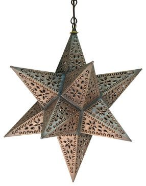 Mexican Tin Hanging Star Lamp - eclectic - ceiling lighting - other metro - Direct From Mexico Home Furnishings