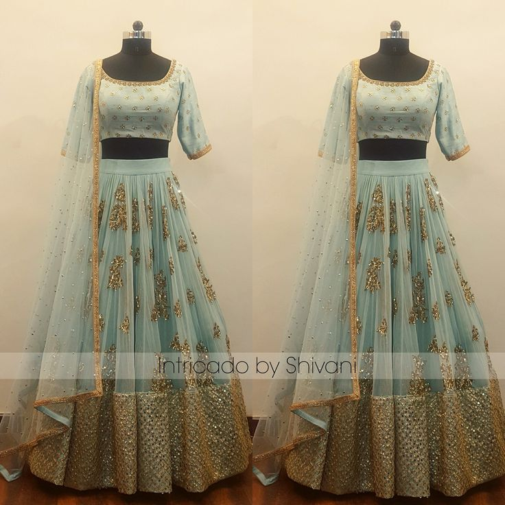 Sequins and gota hand embroidered lehenga in pale blue. Customized this super gorgeous ensemble for beautiful client from the USA.To customize/order/enquir  25 November 2017