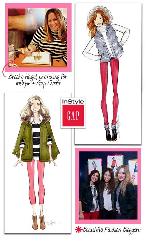 Brooke Hagel: Gap Fashion Illustrations for InStyle Party