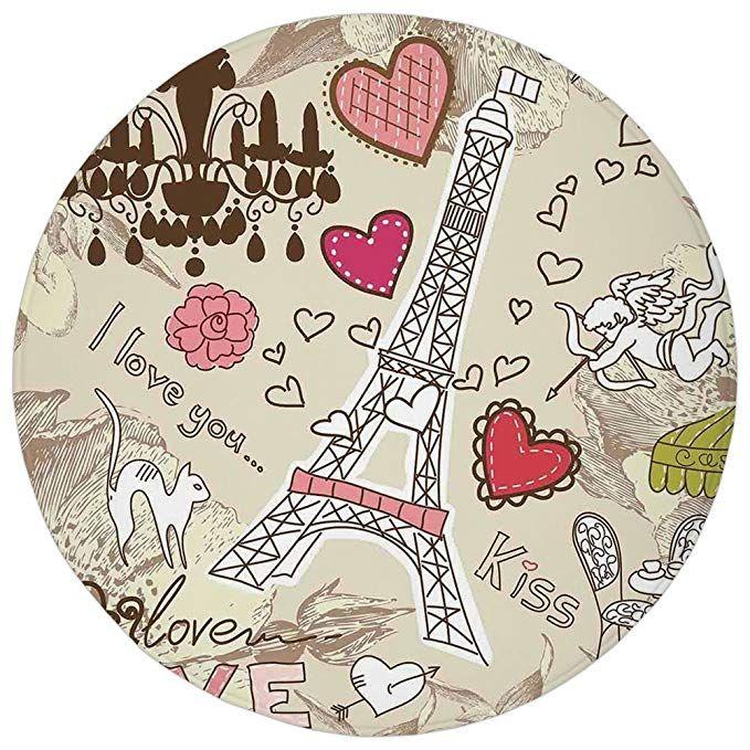 Round Rug Mat Carpet Paris Decor Doodles Illustration Of Eiffel Tower Hearts Chandelier Flower Love Themed Vint Paris Decor Doodle Illustration Vintage Artwork