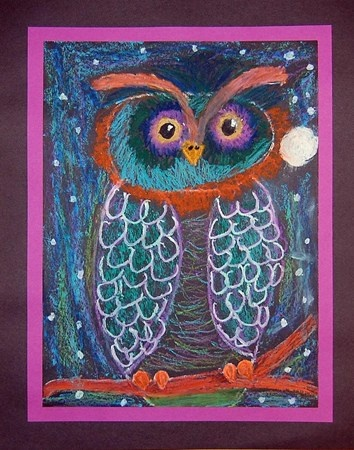 This owl was done with colored chalk or pastels on black construction paper. Nice line work.