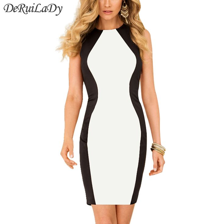 DeRuiLaDy Fashion Black White Splice Women Dress Sleeveles Vest Summer Dresses Plus Size Sexy Dress Vintage Office Bodycon Dress