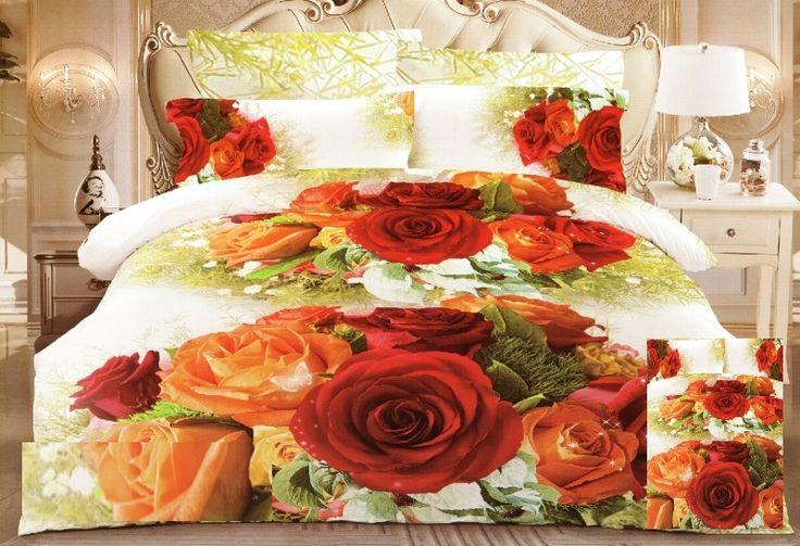 Ložní povlečení bílé barvy s barevnými růžemi