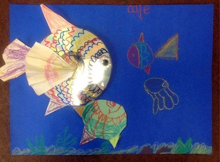 Kindergarten Rainbow Fish Collages using donated CDs.     Artsonia Art Museum :: Artwork by Cade1202
