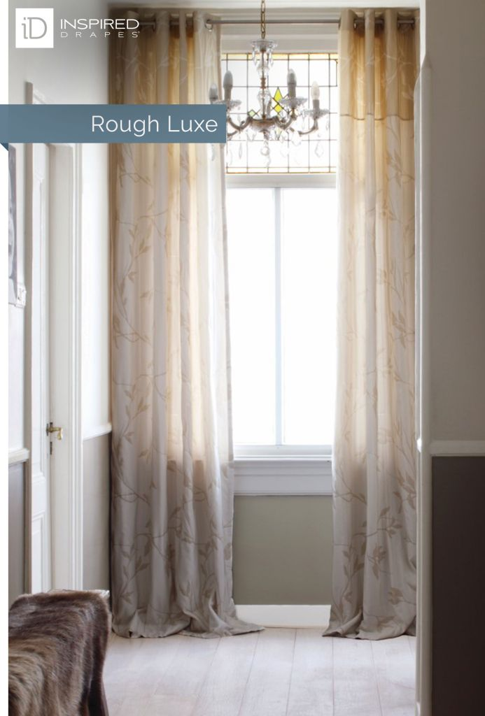 """Balance the bold edges of stained glass, with sheer and delicate draperies for a complete """"rough luxe"""" look."""