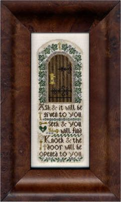Erica Michaels Ask Seek & Knock - Cross Stitch Pattern. Ask & it will be given to you. Seek & you will find. Knock & the door will be opened to you. <br /> Mode