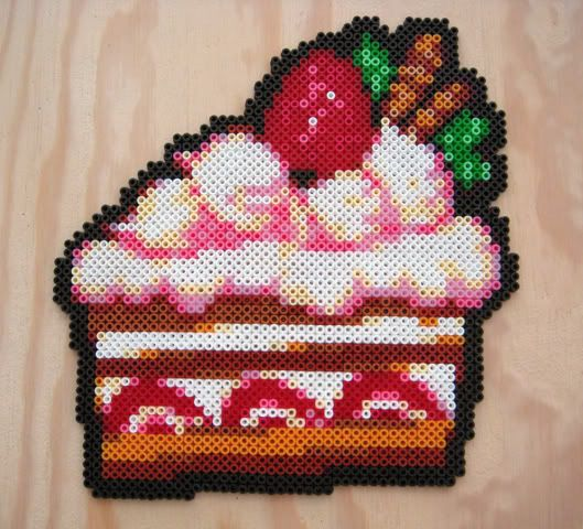 Cake hama perler beads - just too cool not to share :)
