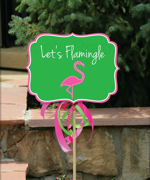 Flamingo Yard Signs, 3 Styles, Flamingo Birthday, Flamingo Shower, Pink Flamingo Party, Luau Party Yard Sign, Party Instant Printable PDFS