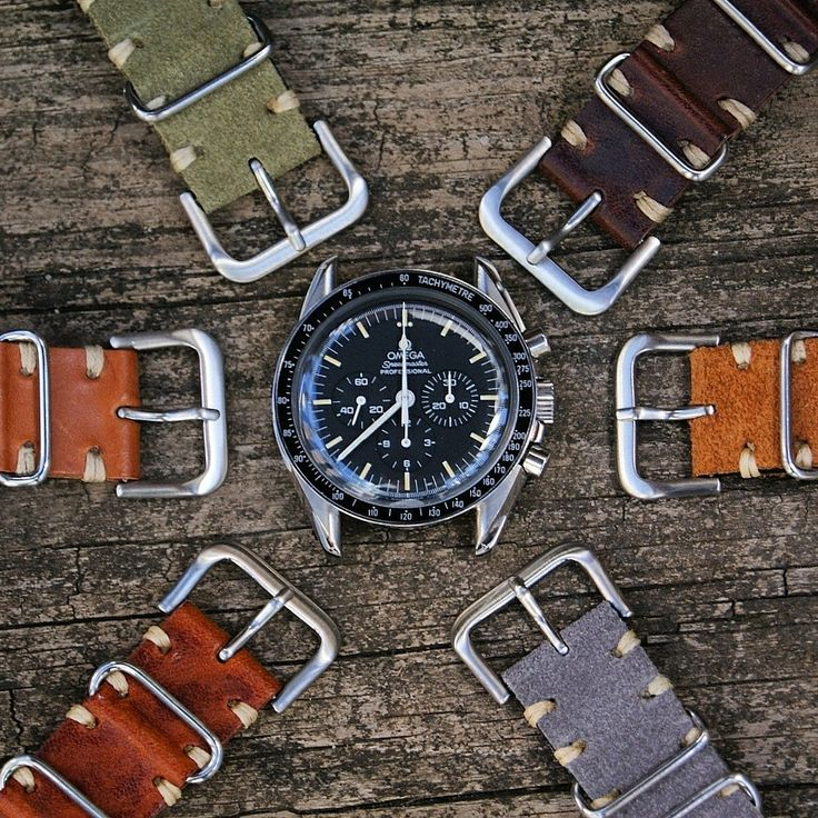 The Omega Speedmaster surrounded by the B & R Bands Vintage Leather Nato Strap Collection!!!