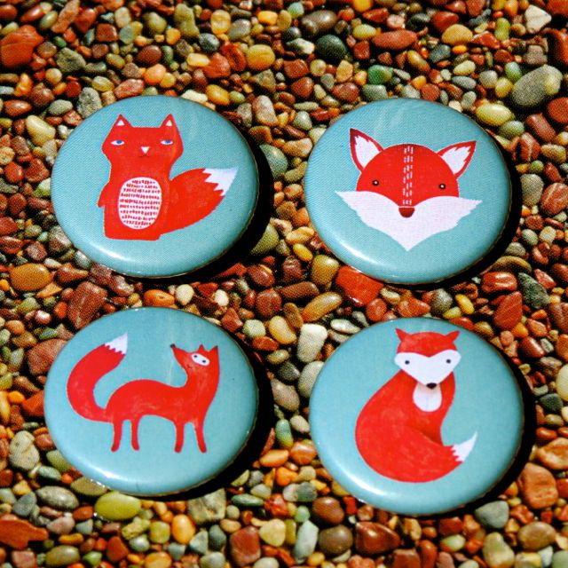 Red Fox Mini Magnets, 1 inch, set of 4 woodland animals | Felt