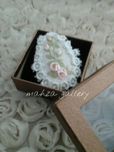 Ribbon embroidery with cotton lace in mini brooch https://m.facebook.com/TheMahzaGallery