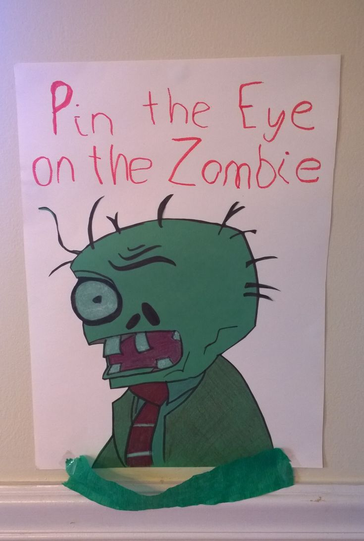Pin the Eye on the Zombie, plants vs zombies party