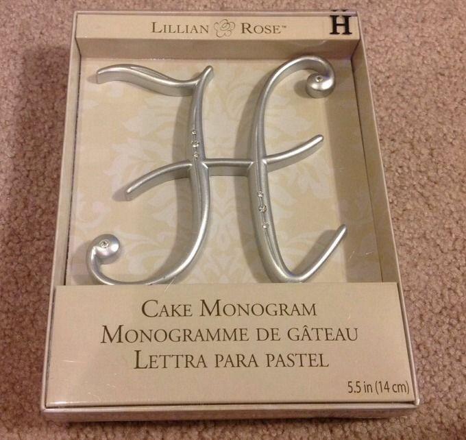 "Large Silver Rhinestone Monogram Letter ""H""  Wedding Cake Topper  5"" inch"