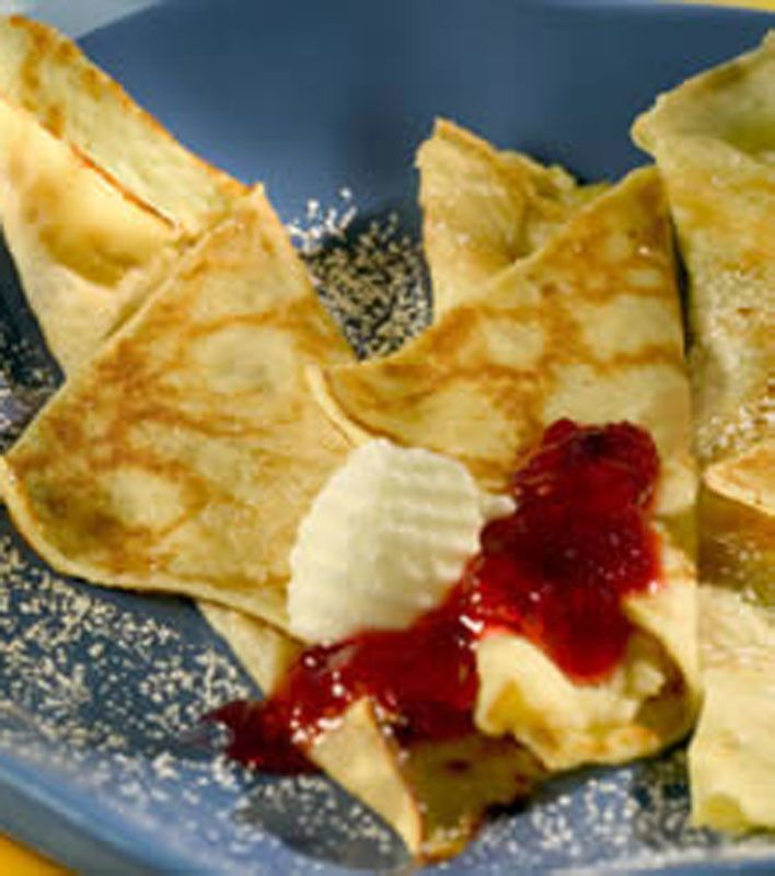 EASY SWEDISH PANCAKES = Ingredients 4 eggs 2 cups milk 1/2 cup all-purpose flour 1 tbsp sugar 1 pinch salt 2 tbsps melted butter===