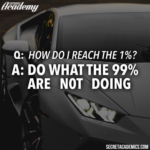 """Reaching the 1% is not impossible and the main element that separates the successful and the unsuccessful is work. I don't mean """"hard"""" work I mean the """"right"""" work. That's what we teach in the #SecretAcademy. We're having our biggest sale of the year right now at the link in our bio for $145 you can have lifetime access to all 5 of our educational platforms. This offer ends at midnight EST so get in while you can! #motivation #entrepreneur #smallbusiness #secretentourage #teamentourage…"""
