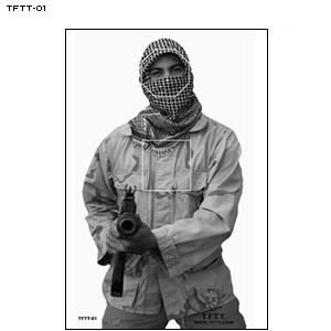 Law Enforcement Targets, Inc.: TFTT TERRORIST TARGETS emphasizes vital impact areas. Subdued scoring lines cannot be seen while shooting.