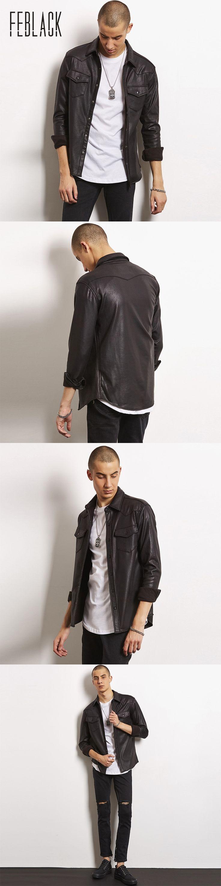 FEBLACK Faux Leather Jacket Men Turn-down Collar Jaqueta De Couro Masculina PU Mens Leather Jackets Skull Punk Veste Cuir Homme