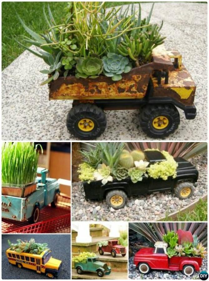 #DIY Recycled Toy Truck #Planter Instructions-20 DIY Upcycled Container #Gardening Planters Projects