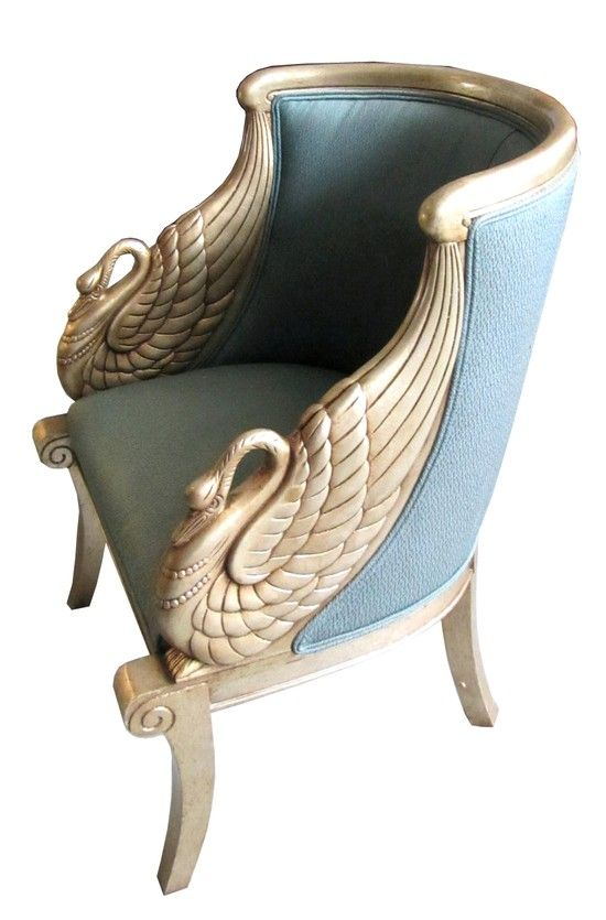 Empire style Bergere. This piece have the splayed legs, waterfall style arms with the Goose head. Art Deco Silver Leaf Chairs with Figural Swan Arms