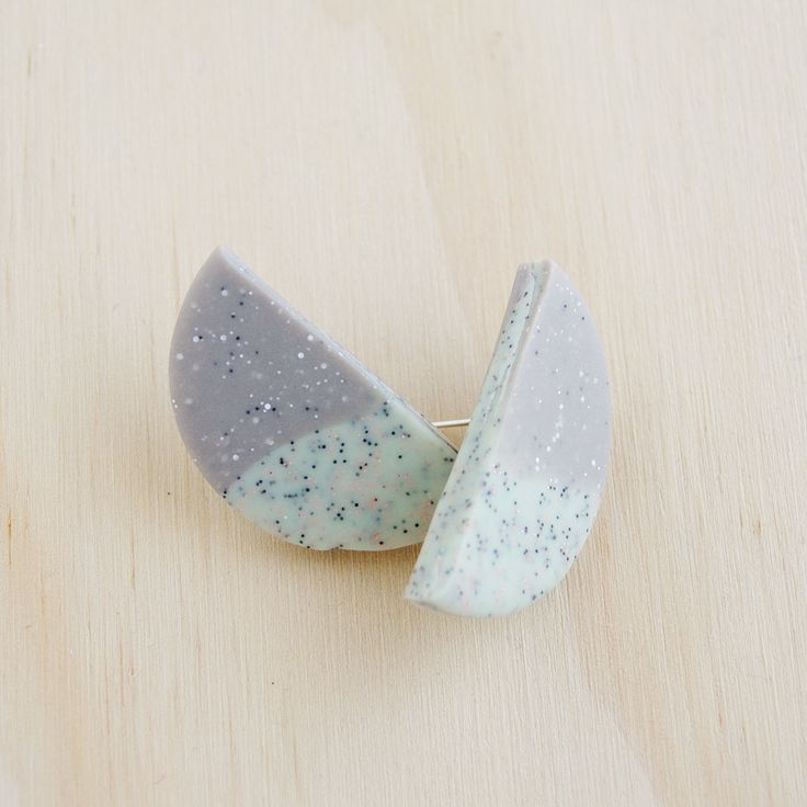 Half Circle Stud Earrings - Two tone grey granite mix (polymer clay) by colourwork on Etsy