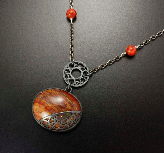 Red agate necklace with silver open work by KAZNESQ on Etsy