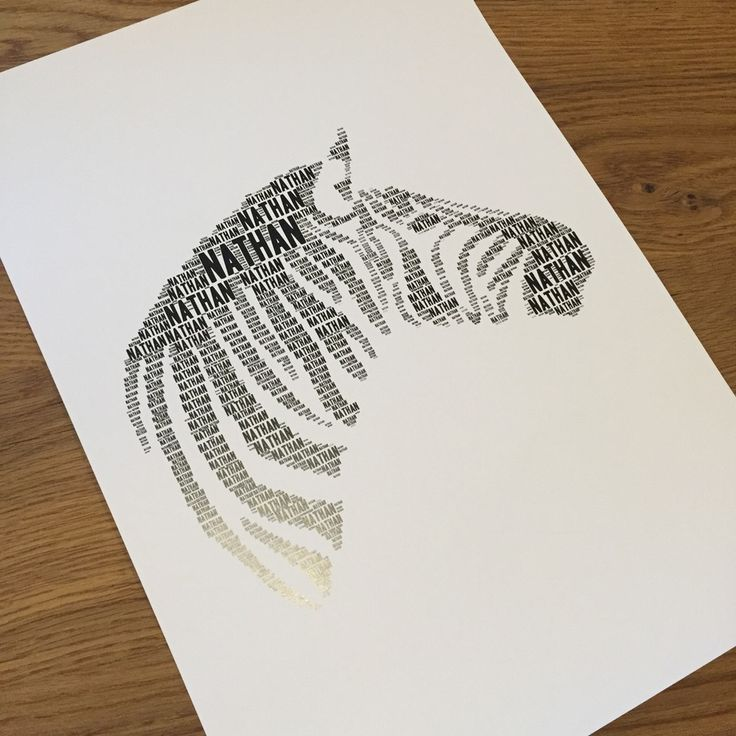 Image of ZEBRA Name IT  Personalised word cloud prints for your child's bedroom or nursery. Any image, any wording, any colours! #kidsroom #nursery #ZEBRA #kidswallart #wallart