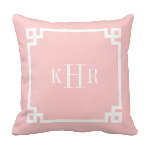 Light Pink Greek Key Border Custom Monogram Throw Pillow