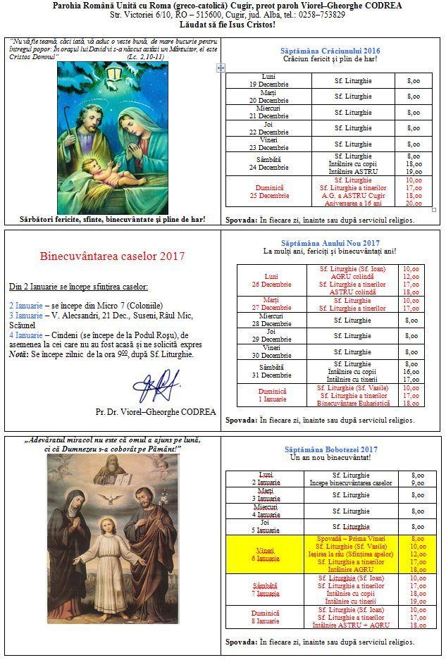 """Parohia Greco-Catolică """"Sf. Apostoli Petru și Pavel"""" din Cugir"""