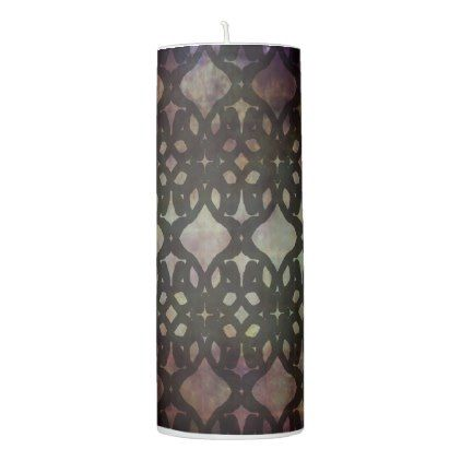 Pink Blue Geo Large Pillar Candle - patterns pattern special unique design gift idea diy